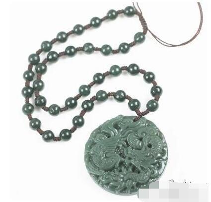 Xinjiang Hetianqingyu natural jade dragon e phoenix jade pendant dragon pendant jade tablets
