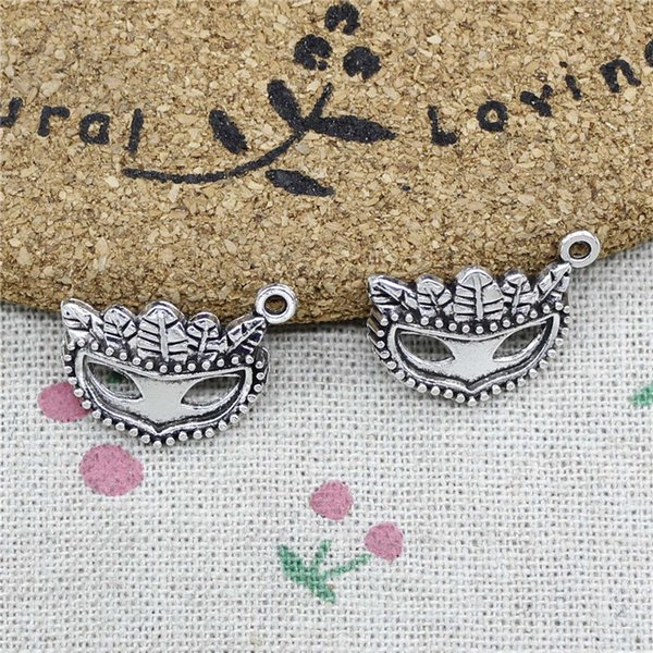 57pcs Charms party mask masquerade mardi gras 19*20mm Tibetan Silver Vintage Pendants For Jewelry Making DIY Bracelet Necklace