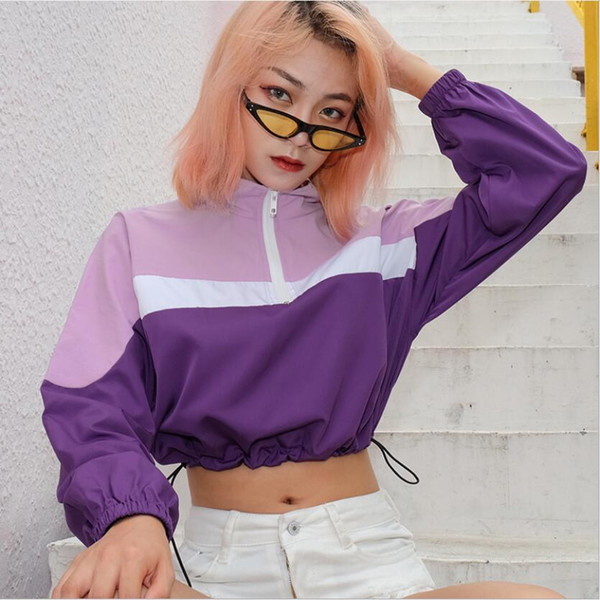 Europe and the United States autumn hot women's new color matching zipper stand collar waist casual sweater women's shirt