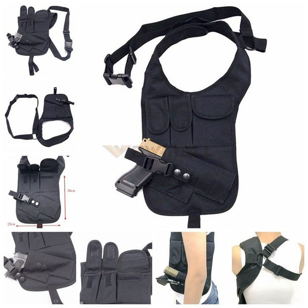 Tactical Holster Nylon Concealed Underarm Shoulder Bag Gun Holster with Double Magazine Pouch gun Pistol Holder
