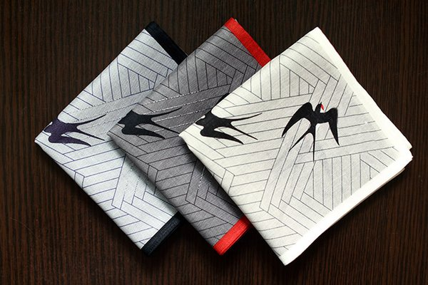 Good Quality Mens Handkerchief Swallows Flying Design Plaid Cotton Hanky Pocket Square New Hot Fashion Male