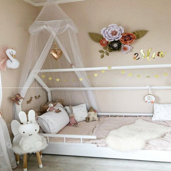 Curtain Hammock Summer Soft Thin Breathabilit Baby Kids Bed Valance Nordic Style Dome Hanging Round Baby Bed Canopy Mosquito Net