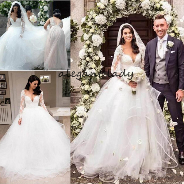 Long Sleeve Wedding Dresses 2018 Modest Cathedral Train Lace Tulle Tiered Puffy Skirt Princess V-neck Garden Church Royal Wedding Gown