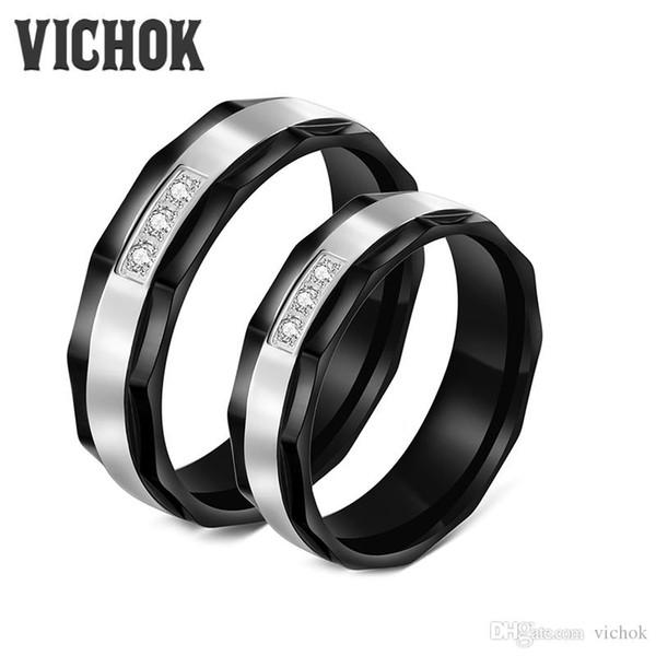 316L кольцо из нержавеющей стали Зубец установка кольца пары кольца для любовника женщины мужчины ювелирные изделия кольца полосы WhiteBlack Оптовая VICHOK