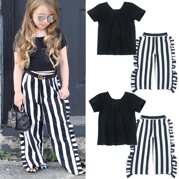 2018 Hot selling summer kids baby girls short sleeve V-neck stripe falbala sets cotton girl t-shirt+pan 2pcs suit outfit boutique clothes