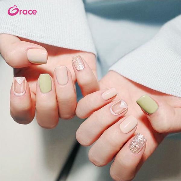 B27 artificiel faux doigt presse sur salon faux ongle longue rose et vert décoré faux ongles astuce