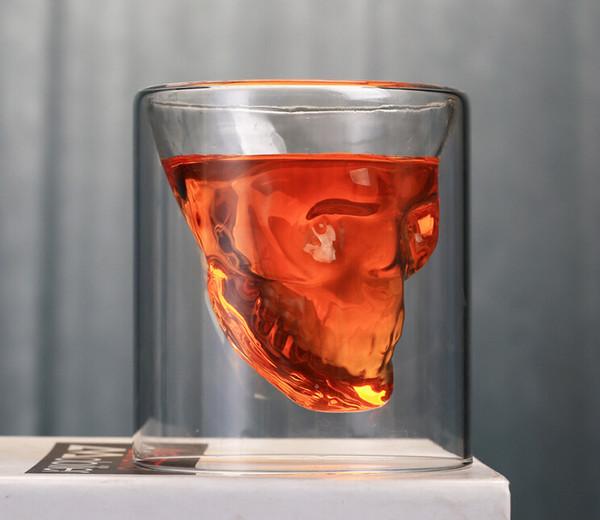 Creative double transparent glass skull wine glass water crystal beer mug personality bar wine glass Drinkware
