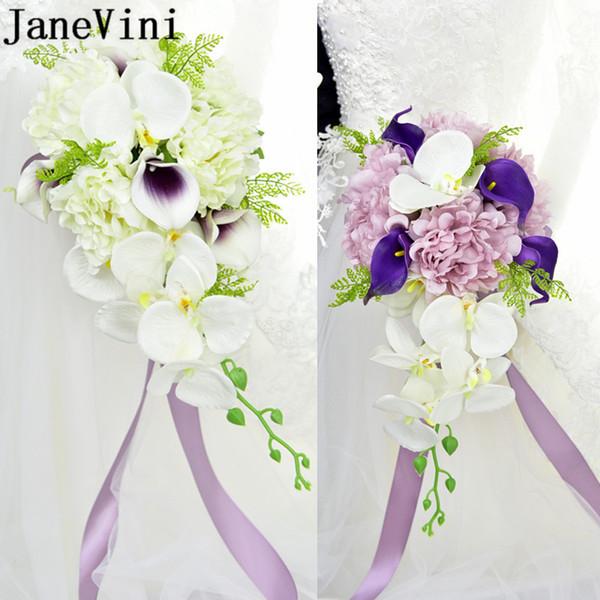 JaneVini Waterfall Artificial Bridal Brooch Wedding Bouquet Calla Lily Peony Bride Holding Flowers Ribbon Bridesmaid Casamento