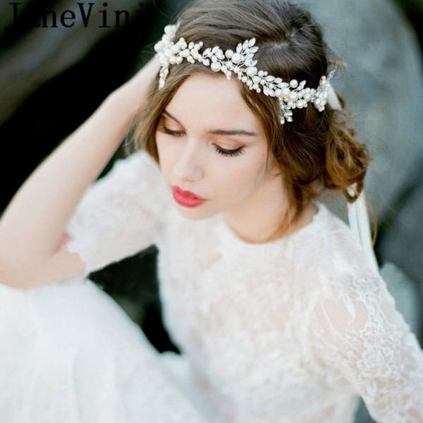 JaneVini Bohemia Bride Wedding Hair Jewelry Pearl Headband Crystal Bridal Hairband Rhinestone Tiaras Womens Tiara Party Hair Accessories