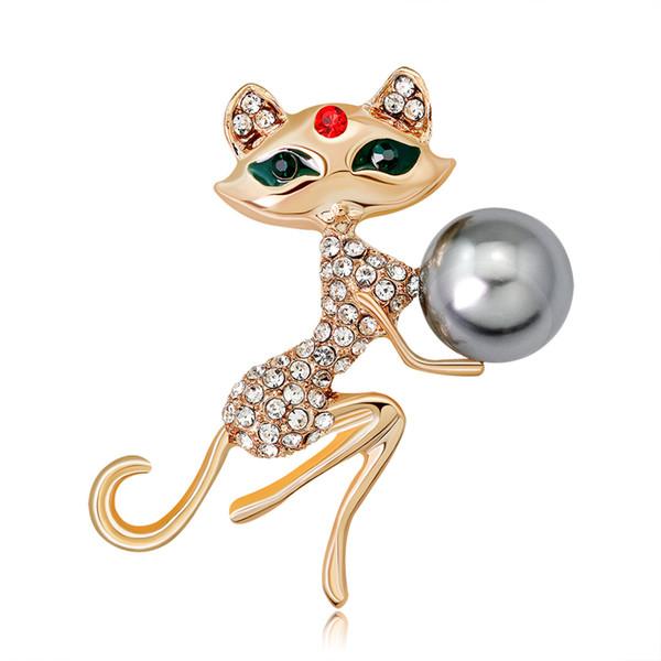 Modeschmuck Gold Nette Katze Broschen Kleidungszubehör Tier Pin Geburtstagsgeschenk