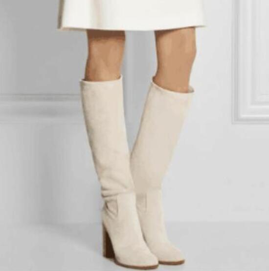 2018 fashion women knee high boots suede leather boots women chunky heel booties white leather boots ladies wood heel party shoes