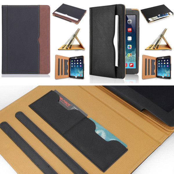 top popular Luxury Tan Soft Leather Wallet Stand Flip Case Smart Cover With Card Slot for New iPad 9.7 2017 2018 Air 2 3 4 5 6 7 Air2 Pro 10.5 Mini 2020