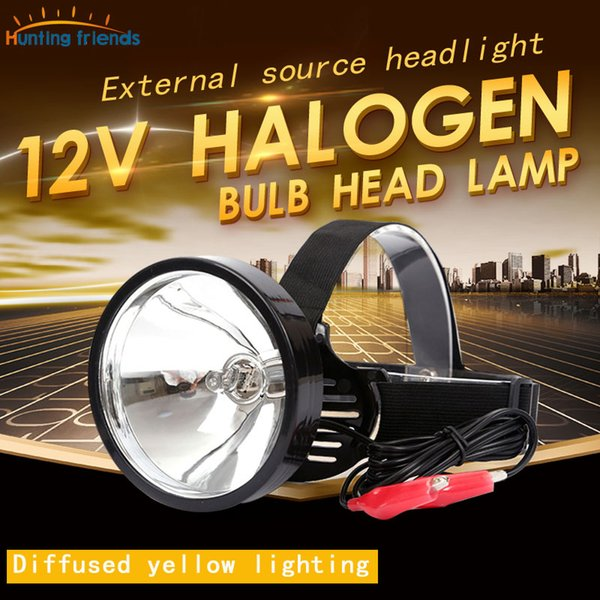 12V Headlamp External Dc Power Headlight Halogen Bulb Head Light Zoom Out Yellow Light Head Touch for Hunting Camping Fishing