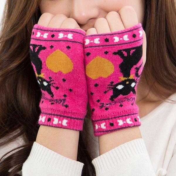 2017 Women's Winter Warm Fingerless Gloves Cartoon Pattern Print Fashion Knitted Gloves Mittens Women's Accessories Warmer S4367 S1025