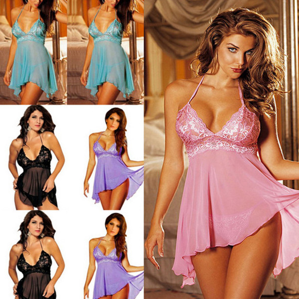 Donna Lingerie Sexy Biancheria intima di pizzo Babydoll Sleepwear Summer Lady Pigiama M / L / XL / XXL / XXL Abbigliamento da interni Sexy Home Clothe