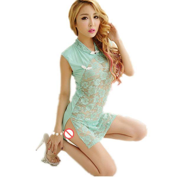 Sexy Babydoll Lingerie Mulheres Eróticas Rendas Sexy Traje Sleepwear Vestido Chinês cheongsam Bodycon Transparente Oco-out Chemise Cueca