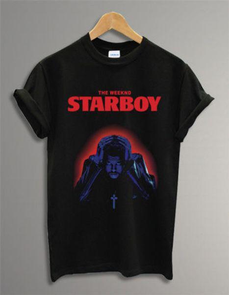 Starboy The Weeknd Logo Music Black Unisex Männer Frauen-T-Shirt Tumblr T Neue Top Tees Mode-Art-Männer 100% Baumwolle Klassik