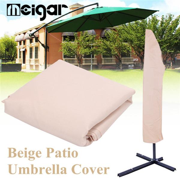 3mX45cm Waterproof Garden Patio Parasol Umbrella Rain Cover Canopy Sunblock Protective Bag Outdoor Rain Gear Accessories Beige