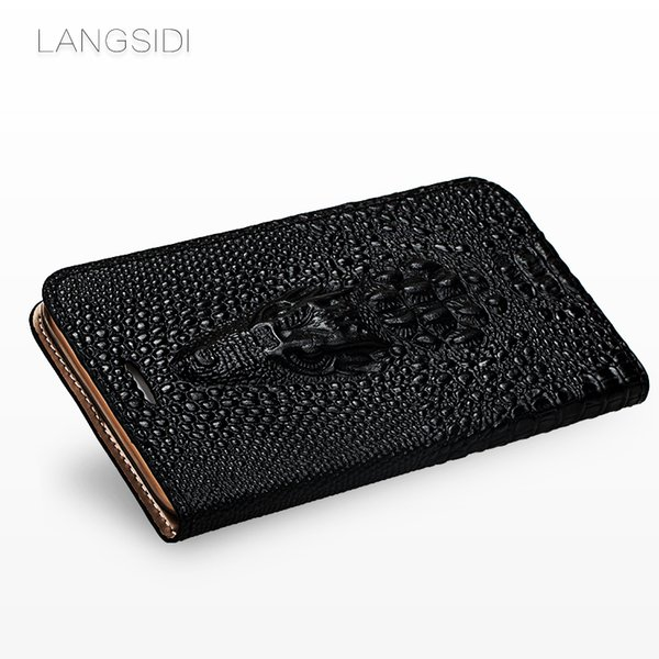 Atacado capa flip crocodilo crânio genuine phone case de couro para iphone x xs xsmax xr 6 7 8 8 plus protetor de cartão