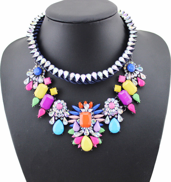 fashion necklace PPG&PGG Fashion Jewelry Shourouk Blue Crystal Flower Choker Statement Bib Collar Necklaces Pendants Wholesale For Women