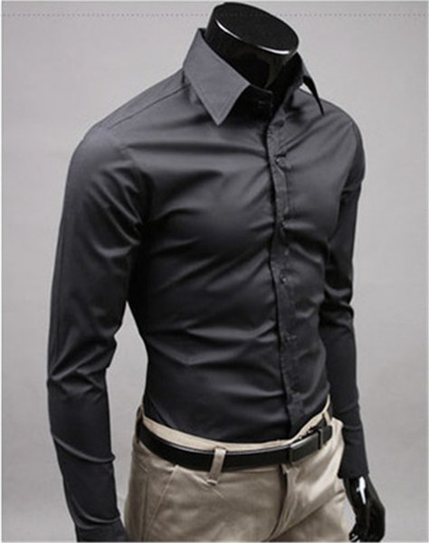 New Fashion Brand black Groom Shirts Long Sleeve Shirt Men Slim Design Formal Casual Male Dress Shirt Size M-5XL (C8006)