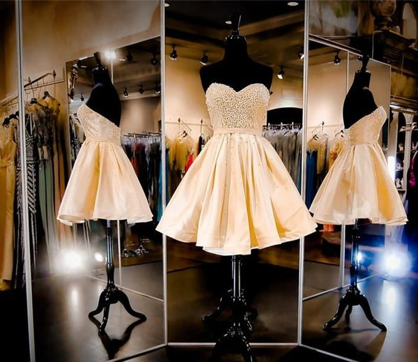Champagne Short Homecoming Dresses 2018 Beaded Pearls Sweetheart Corset Back Prom Party Gowns Sixteen Graduation Pageant Dresses