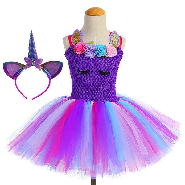 flower girl UnicornTutu Dress Princess Girls Birthday Party Dress Up Children Lace Tulle Flower Girl Dress Kids Halloween Cosplay Costume