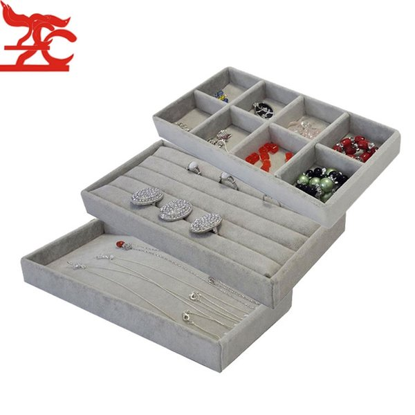 Popular Grey Velvet 11*22cm Jewelry Display Tray Kit 3Pcs Bead Ring Earring/Necklace Storage Organizer Box Portable Jewelry Tray