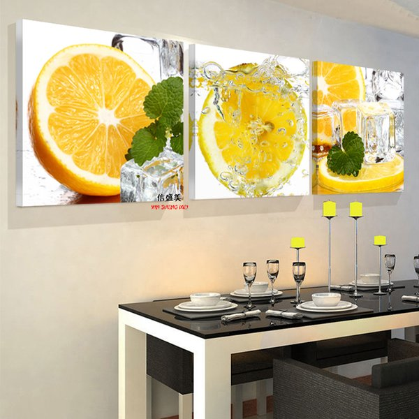 Wholesale-3 Panel Wall Art Painting On Cuadros Picture Oil Paintings Modern Fruit Kitchen Pictures Hd Print Canvas Schilderij No Frame