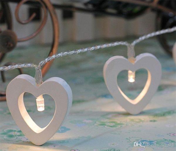Lámparas decorativas de Bardian Amor en forma de corazón Cadena de luz LED de madera para Navidad Decoraciones de boda de Navidad Orden de prueba 8xg dd