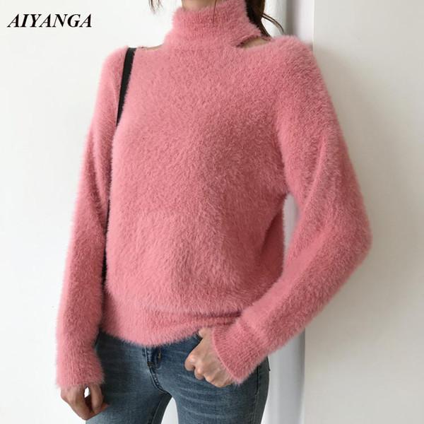 2018 Mujeres Mink Cashmere Tops Otoño Invierno Jerseys Suéteres Cuello alto sexy Hollow Off Shoulder Casual de punto suéter de señora