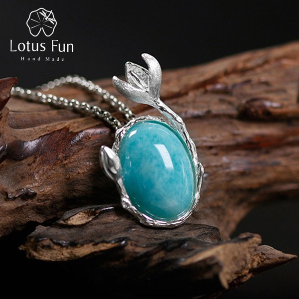 Lotus Fun Real 925 Sterling Silver Natural Amazonite Handmade Fine Jewelry Magnolia Flower Pendant without Necklace for WomenY1882803