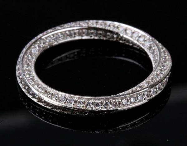 Size5-10 Fashioin Jewelry 18K White Gold Filled Full Diamonique CZ Zircon Wedding Band Finger Mobius Couple Ring
