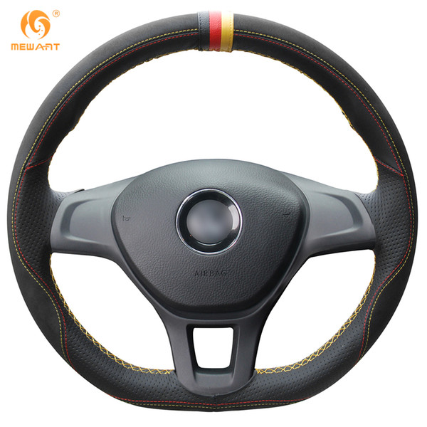 MEWANT Black Leather Black Suede Car Steering Wheel Cover for Volkswagen VW Golf 7 Mk7 New Polo 2014 2015 2016 2017