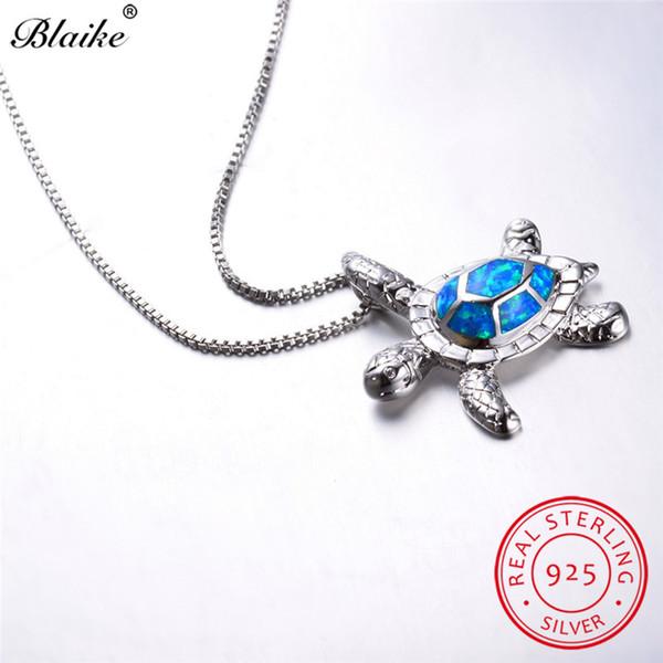 Blaike Nette Ocean Blue Feueropal Schildkröte Anhänger Halsketten Für Frauen 925 Sterling Silber Teardrop Birthstone Schildkröte Halskette