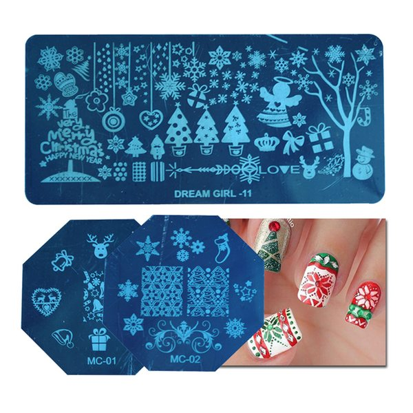 1Pc Christmas Snowflake Pattern Nail Stamping Plates Nail Art Image Plate Stencil Nails Templates DIY Decor Manicure Tools LA176