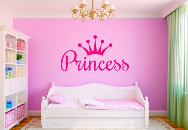 Aduana Personalizada Nombre de la muchacha Vinilos Murales Pegatinas para Niños Habitación Decoración, Princesa Reina Corona DIY Etiqueta de La Pared Calcomanías de Arte