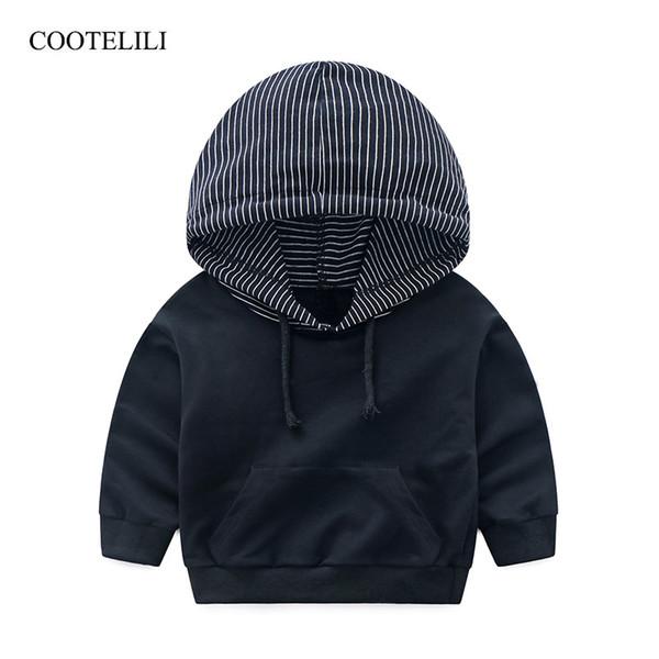 COOTELILI 80-130cm Fashion Striped Baby Girls Clothes Baby Boys Hoodies Kids Cool Hip-Hop Sweatshirt Children Tops Black White