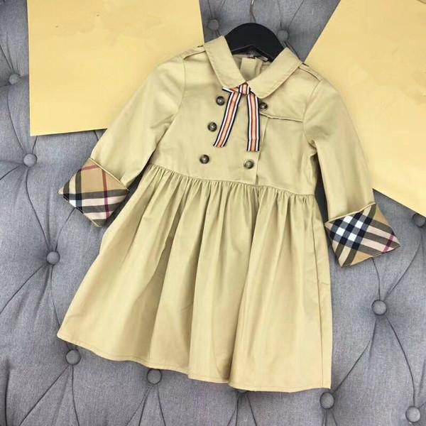 Adrette Mädchen Kleid 2018 Frühling Herbst luxuriöse lange Ärmel Kinder Kleid Mode Bogen und Knöpfe Tops