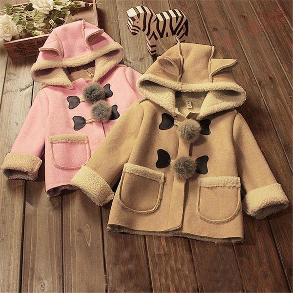 Cola Bebek kız ceketler kalın sıcak hoodies kıyafetler parkas wadded coat kış ceket bebekler deri Kabanlar palto