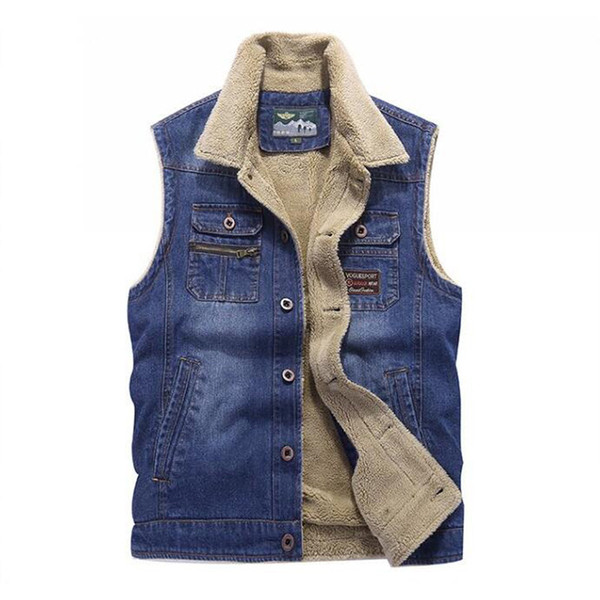 New Jeans Vest Autumn Winter Mens Denim Vest Sleeveless Jacket Warm Fleece Waistcoat Casual Colete Gilet