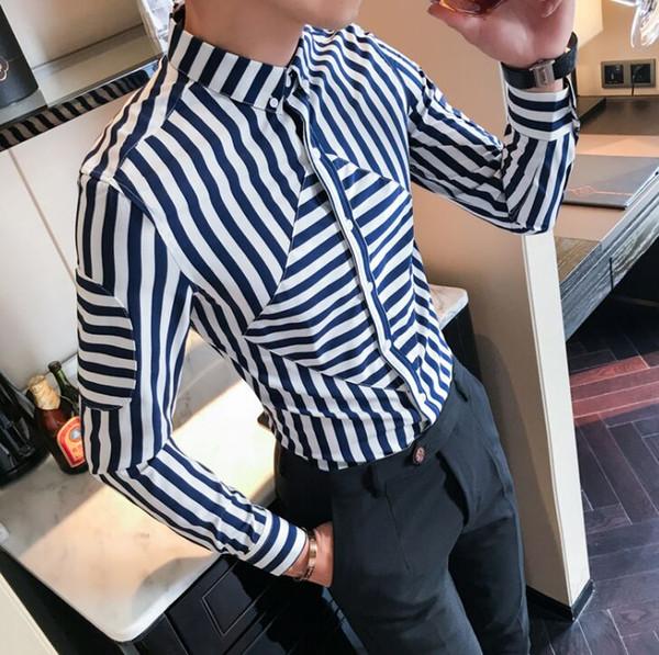 Chegada nova Roupa Dos Homens personalidade Masculina listrada camisa de mangas compridas Homens estilista de cabelo da moda dos homens Magros Camisas Casuais 2 Cores M-3XL