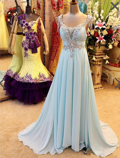 Real Photos Beaded Rhinestone Off Shoulder Prom Dresses Sexy Back Chiffon A Line Long Party Evening Gowns