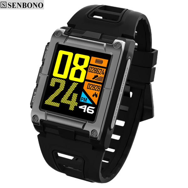 SENBONO S929 GPS Sport IP68 Waterproof Swimming Smart Watch Heart Rate Monitor Thermometer Altimeter Color Screen Smartwatch