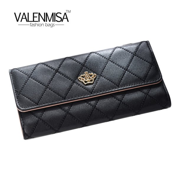 2018 PU Leather Women Long Wallet Hasp Crown Coin Pocket Purse Women Wallets Cards Holders Luxury Brand Wallets Designer Purse