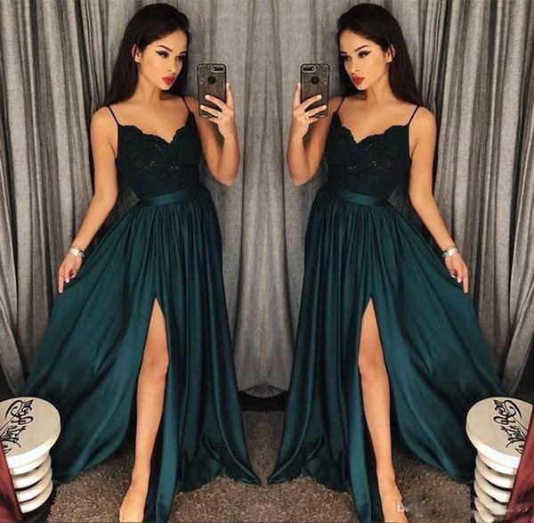 Evening Gowns A-Line Blackish Green High Split Cutout Side Slit Lace Sexy Arabic Gowns Sweep Train Formal Party Prom Dresses