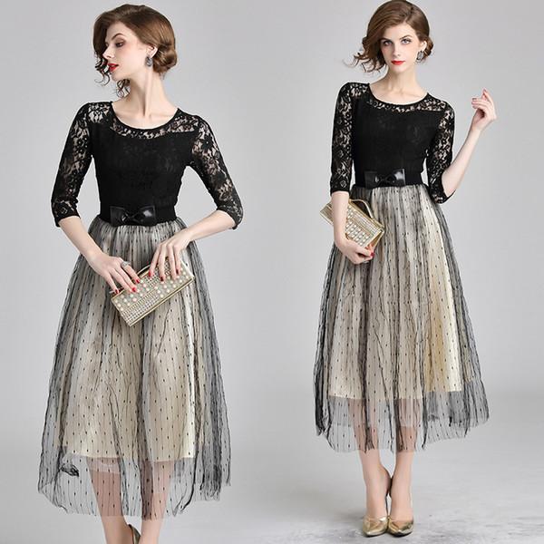 Formal Evening Vestidos Women Vintage Party Lace Prom Gowns High Waist Black Print Polka Dot Net Yarn Dress