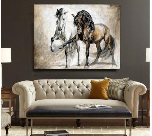Rétro Nostalgie Danse Du Cheval Brun Salon Original Peinture À L'huile Animale Sur Le Mur De Toile Photos Pour La Décoration de La Maison