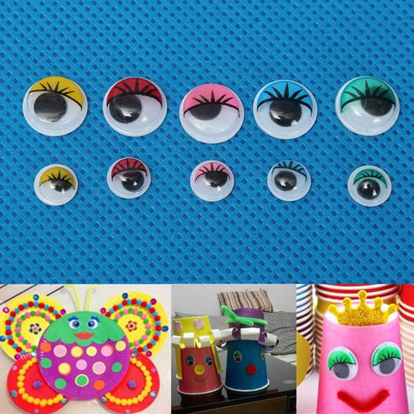 Ciglia Wiggly Wobbly Occhi googly per la decorazione del mestiere fai da te Giocattoli per bambole Colorate mobili Occhi mobili Accessori per bambole 100 pz 8mm / 12mm