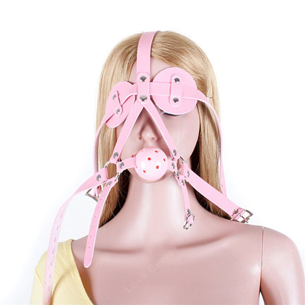 Breathable Ball Gag Open Mouth Gag with PU Leather Eye Mask Head Harness BDSM Bondage Toys Adult Games Flirting Sex Products